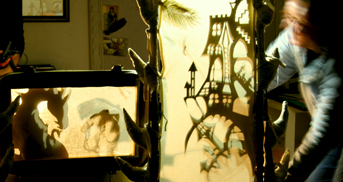 Storytelling and shadow puppetry in the Introduction to puppetry workshop